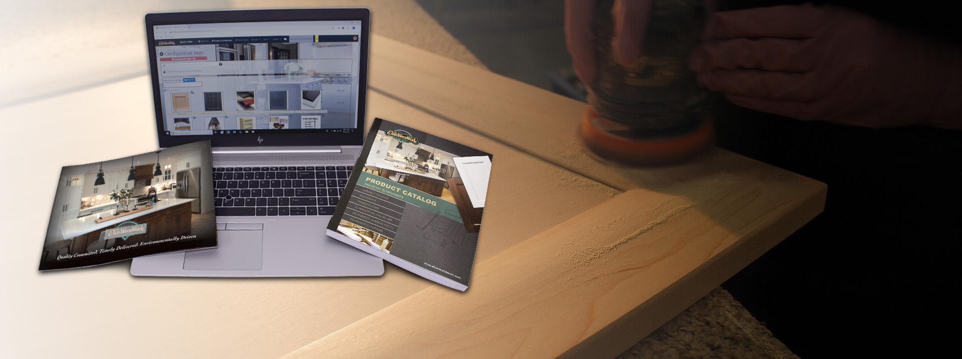Door Sanding with Catalogs laptop