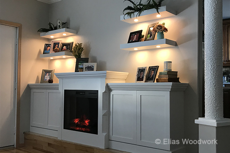 Painted Fireplace & Shelves